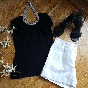 Black Halter Top with Sequin Neckline